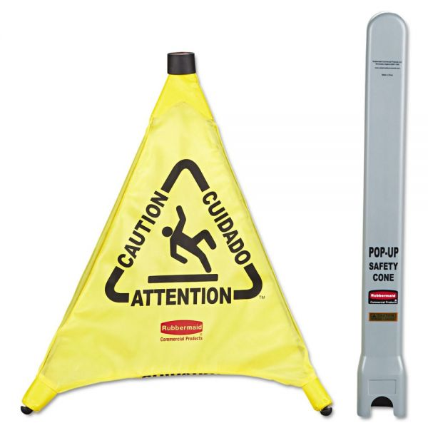 "Rubbermaid Commercial ""Caution/Cuidado/Attention"" 3-Sided Pop-Up Safety Cone"