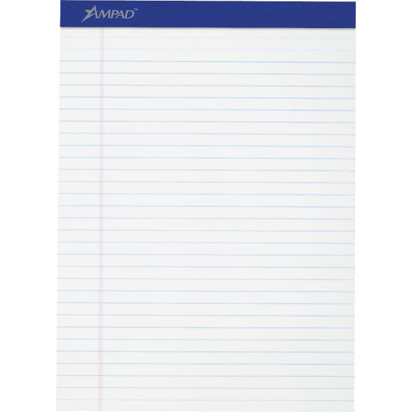 Ampad Perforated Writing Pad, 8 1/2 x 11 3/4, White, 50 Sheets, Dozen.