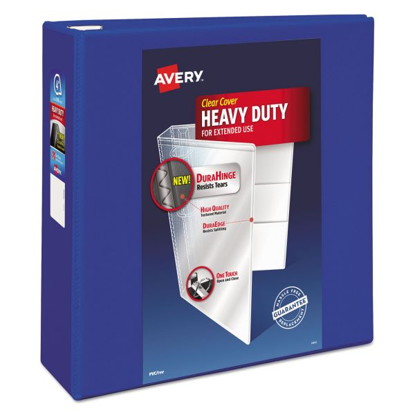 "Avery Heavy-Duty 3-Ring View Binder w/Locking EZD Rings, 4"" Capacity, Pacific Blue"