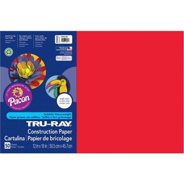 Tru-Ray Sulphite Red Construction Paper