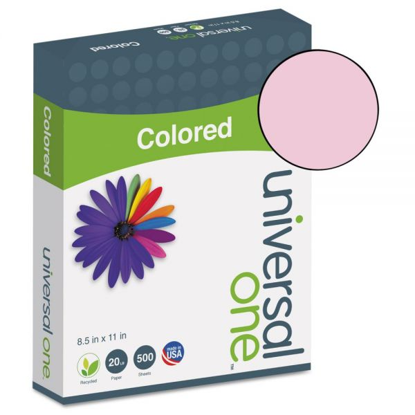 Universal Colored Paper, 20 lb, 8 1/2 x 11, Pink, 500 Sheets/Ream