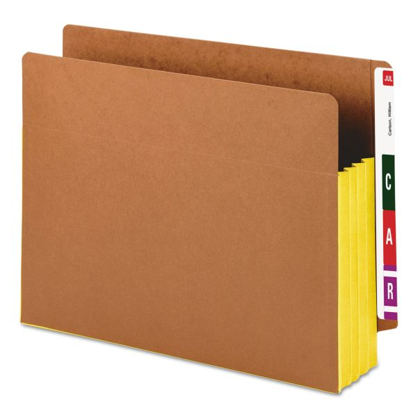 "Smead 3 1/2"" Exp File Pockets, Straight Tab, Letter, Yellow, 10/Box"