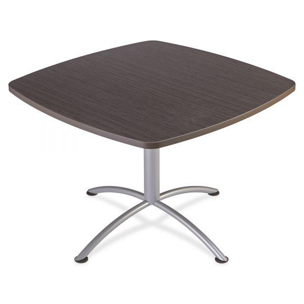 "Iceberg iLand Table, Contour, Square Seated Style, 42"" x 42"" x 29"", Gray Walnut/Silver"