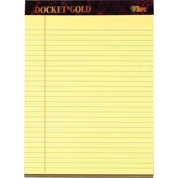 TOPS Docket Ruled Perforated Pads, 8 1/2 x 11 3/4, Canary, 50 Sheets, Dozen