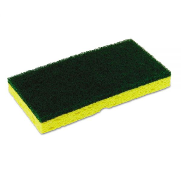Continental Medium-Duty Scrubber Sponge, 3 1/8 x 6 1/4 in, Yellow/Green, 5/PK, 8 PK/CT