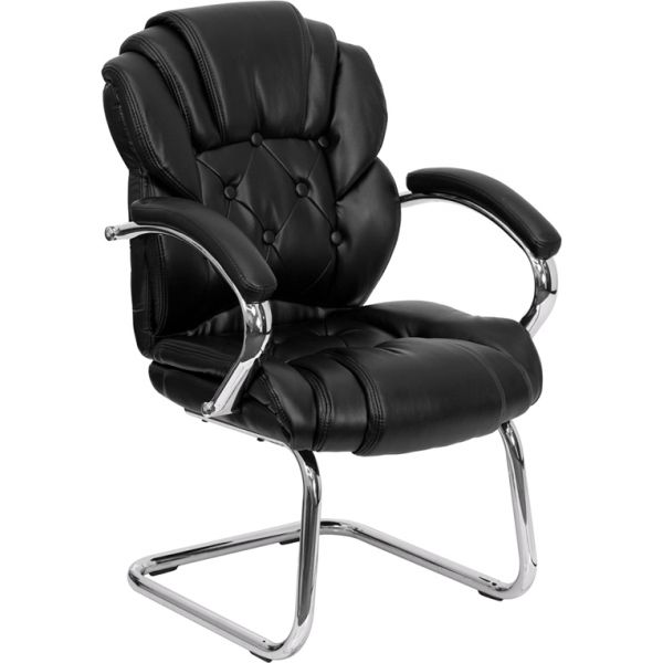Flash Furniture Black Leather Transitional Side Chair