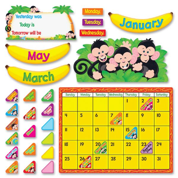 Trend Monkey Mischief Calendar Bulletin Board Set