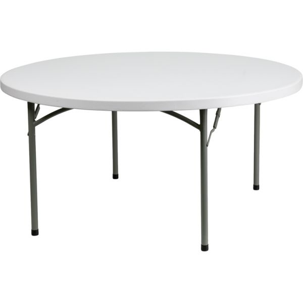 Flash Furniture 60'' Round Granite White Plastic Folding Table