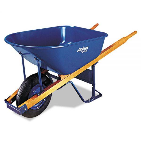 Jackson Contractor's Wheelbarrow, 6 Cubic Feet Capacity, Flat-Free Wheel