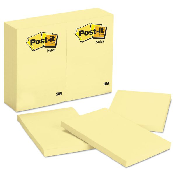 Post-it Notes Original Pads in Canary Yellow, 4 x 6, 100-Sheet, 12/Pack