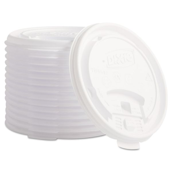 Dixie Plastic Lids for Hot Drink Cups, 12 & 16oz, White, 1000/Carton