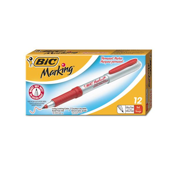 BIC Mark-It Ultra Fine Red Permanent Markers