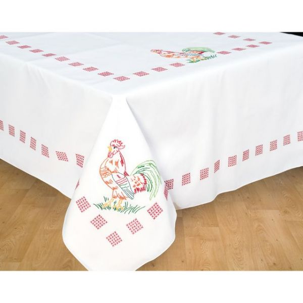 Stamped White Table Cloth