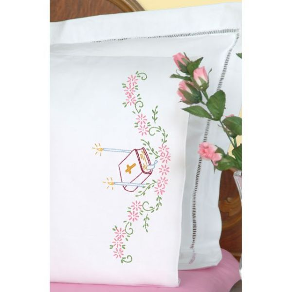Stamped Pillowcases W/White Perle Edge 2/Pkg