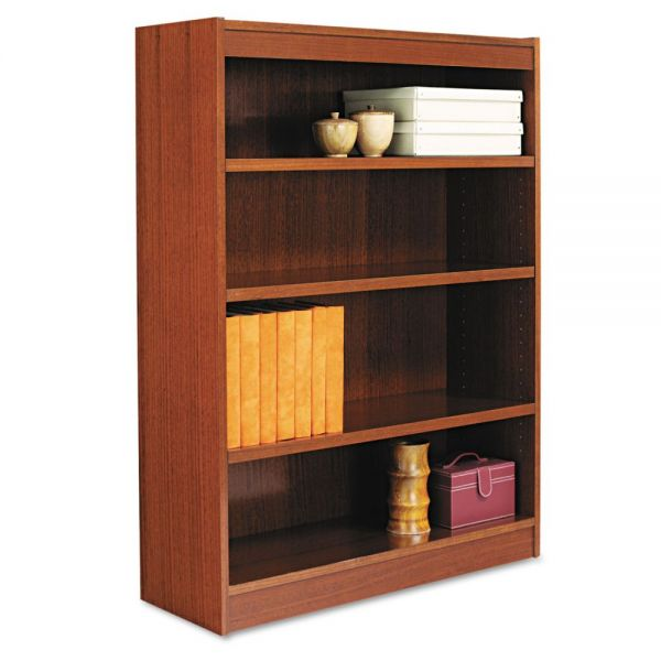 Alera Square Corner 4-Shelf Wood Veneer Bookcase