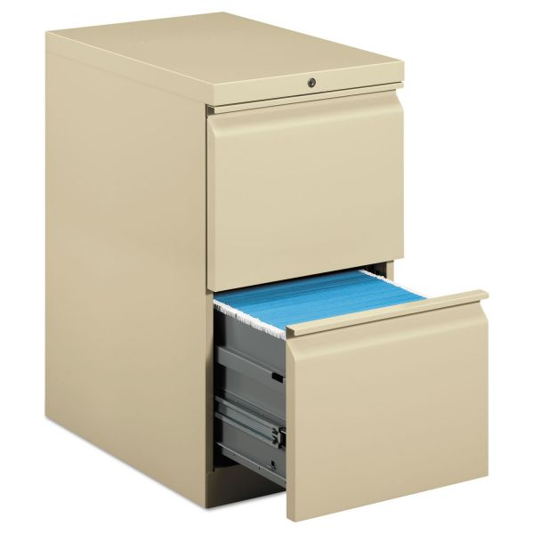 HON Efficiencies Mobile Pedestal File w/Two File Drawers, 22-7/8d, Putty