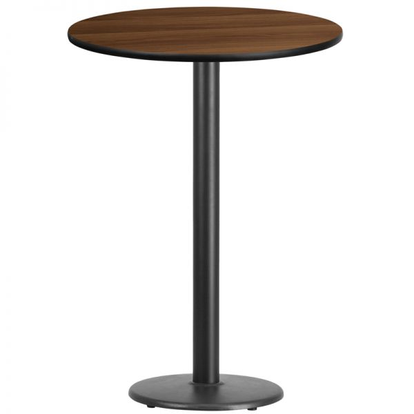 Flash Furniture 30'' Round Walnut Laminate Table Top with 18'' Round Bar Height Table Base