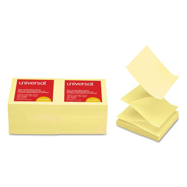 Universal Fan-Folded Self-Stick Pop-Up Note Pads, 3 x 3, Yellow, 100-Sheet, 12/Pack