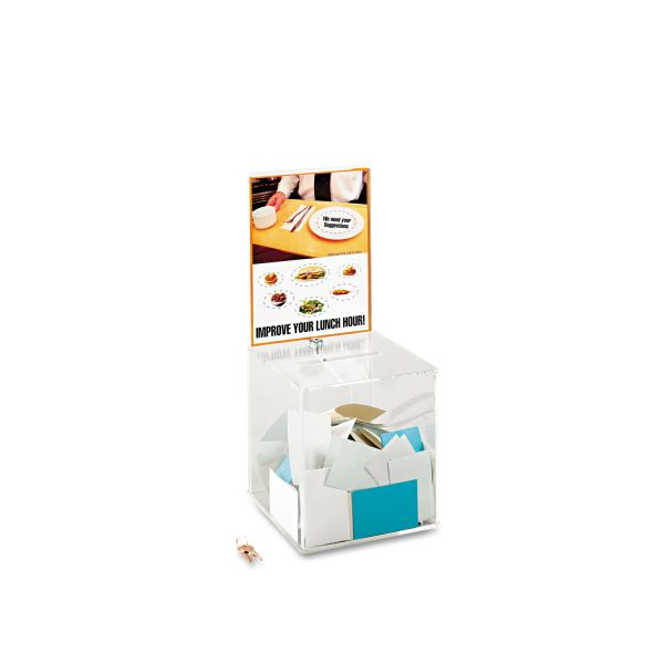 Safco Customizable Locking Acrylic Collection Box