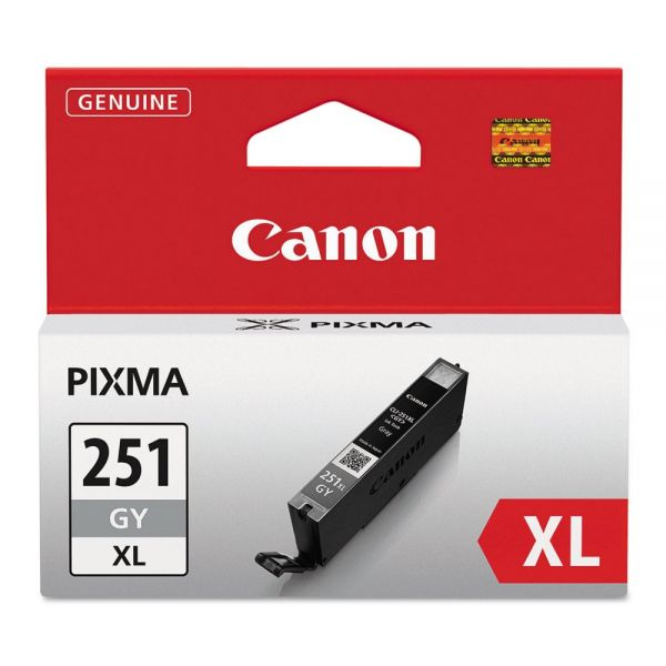 Canon CLI-251XLGY Gray High-Yield Ink Cartridge (6452B001)
