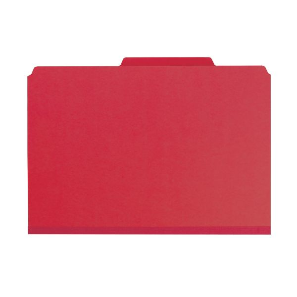 Smead Bright Red Pressboard Classification Folders with SafeSHIELD Fasteners
