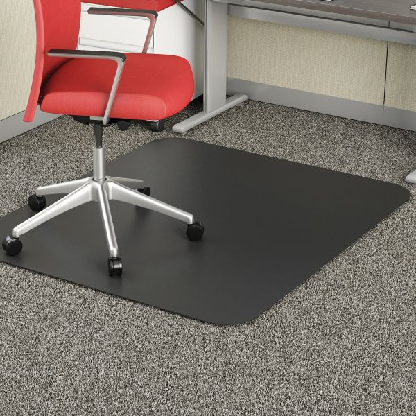 deflecto EconoMat Occasional Use Low Pile Black Chair Mat
