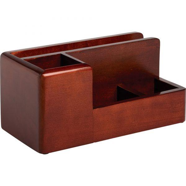 Rolodex Wood Tones Desk Organizer, Wood, 4 1/4 x 8 3/4 x 4 1/8, Mahogany
