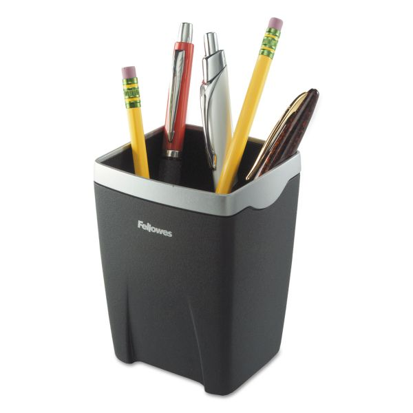 Fellowes Office Suites Divided Pencil Cup, Plastic, 3 1/16 x 3 1/16 x 4 1/4, Black/Silver