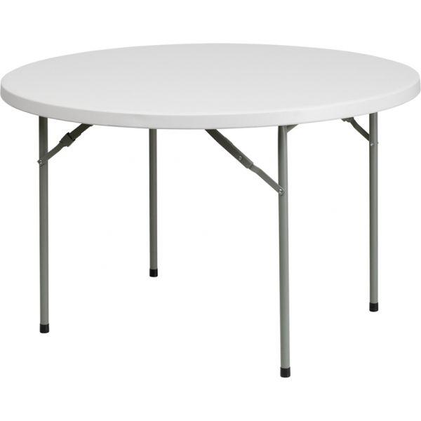 Flash Furniture 48'' Round Granite White Plastic Folding Table