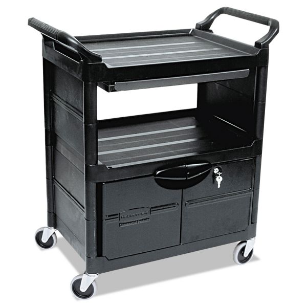 Rubbermaid Service Cart with Lockable Doors & Sliding Drawer