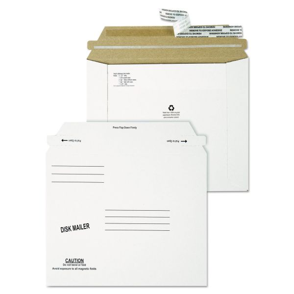 Quality Park Recycled Redi Strip Economy Disk Mailer, 7 1/2 x 6 1/16, White, 100/Carton