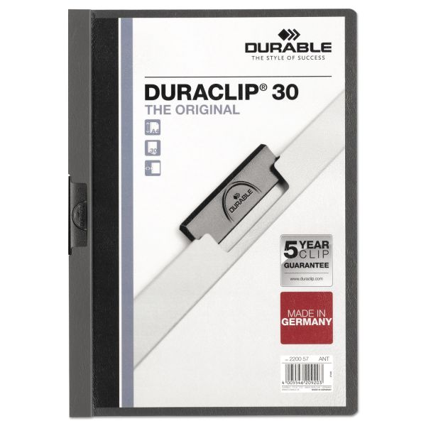 Durable Vinyl DuraClip Report Cover, Letter, Holds 30 Pages, Clear/Graphite