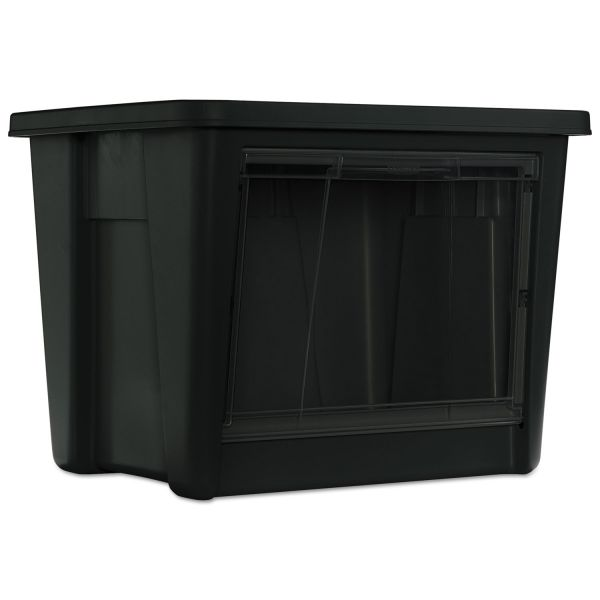 Rubbermaid Roughneck Storage Box, 19 1/2 x 17 1/2 x 15 1/8, Black/Clear Front, 4/Carton