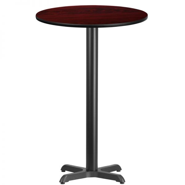 Flash Furniture 24'' Round Mahogany Laminate Table Top with 22'' x 22'' Bar Height Table Base