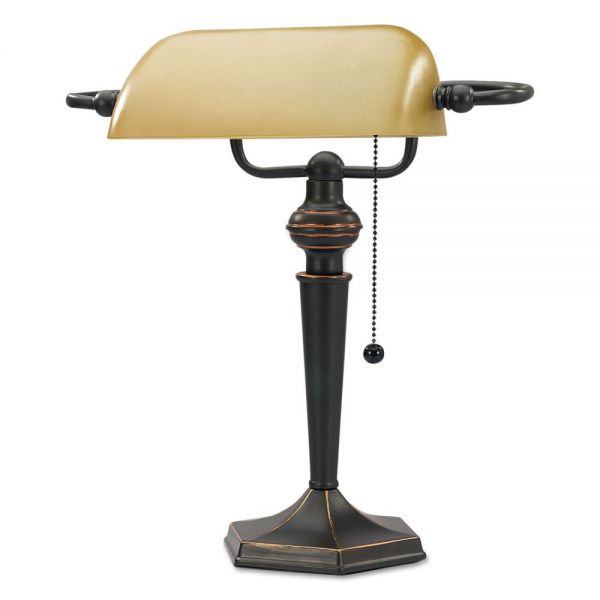 "Alera Traditional Banker's Lamp, 16""High, Amber Shade with Antique Bronze Base"