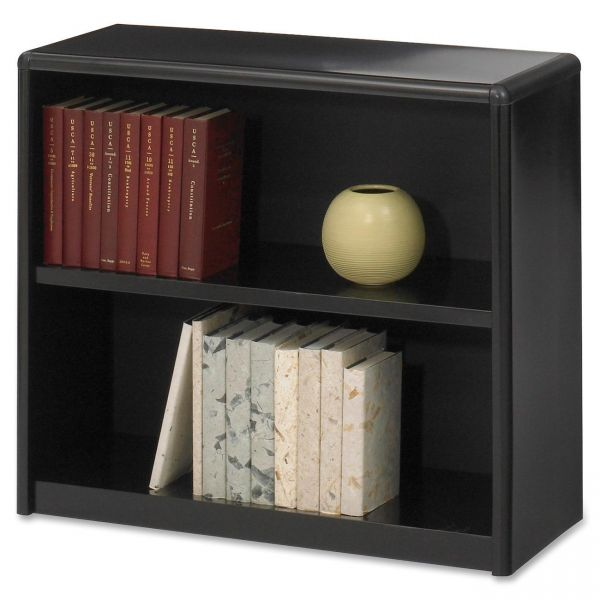 Safco Value Mate Series Metal Bookcase, Two-Shelf, 31-3/4w x 13-1/2d x 28h, Black