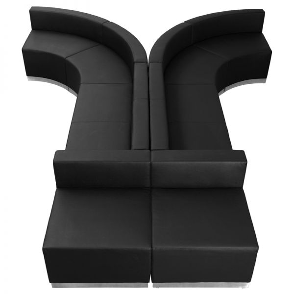 Flash Furniture HERCULES Alon Series Black Leather Reception Configuration, 8 Pieces