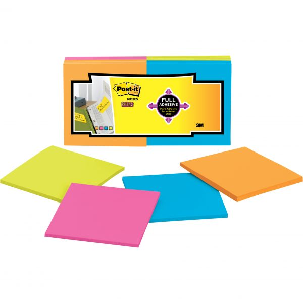 Post-it Notes Super Sticky Full Adhesive Notes, 3 x 3, Assorted Rio de Janeiro Colors, 25-Sheet, 12/Pack