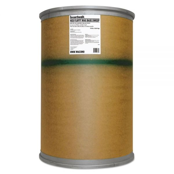 Boardwalk Blended Wax-Based Sweeping Compound, Red, Grit-Free, 150lbs, Drum