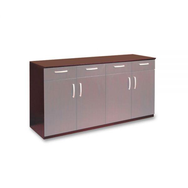 Mayline Wood Veneer Buffet Credenza Cabinet, 72w x 22d x 36h, Mahogany