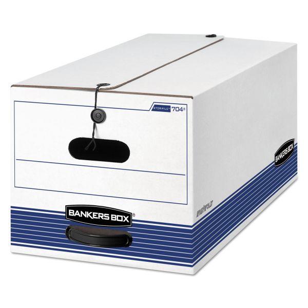 Bankers Box STOR/FILE Storage Box, Letter, Button Tie, White/Blue, 12/Carton