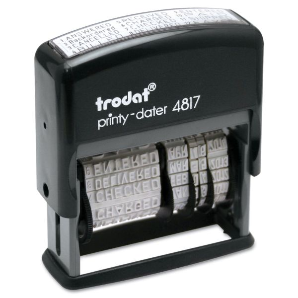 U. S. Stamp & Sign Trodat Economy 12-Message Stamp, Dater, Self-Inking, 2 x 3/8, Black