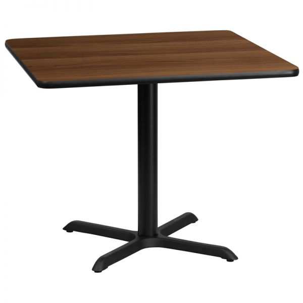 Flash Furniture 36'' Square Walnut Laminate Table Top with 30'' x 30'' Table Height Base