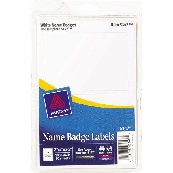 Avery Printable Self-Adhesive Name Badges, 2 1/3 x 3 3/8, White, 100/Pack