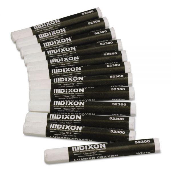 Dixon Lumber Crayons, 4 1/2 x 1/2, White, Dozen