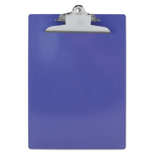 "Saunders Recycled Plastic Clipboard w/Ruler Edge, 1"" Clip Cap, 8 1/2 x 12 Sheets, Purple"