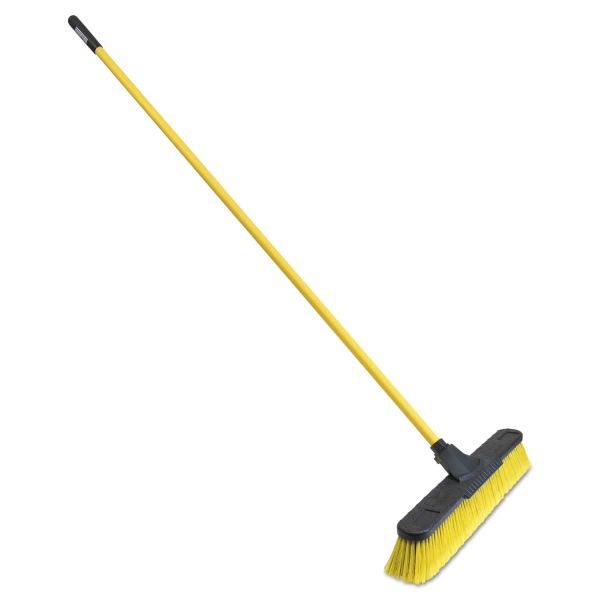 "Quickie Multisurface Pushbroom, 24"" Brush, 63 3/4"" Handle, PET/Steel, Yellow/Black"