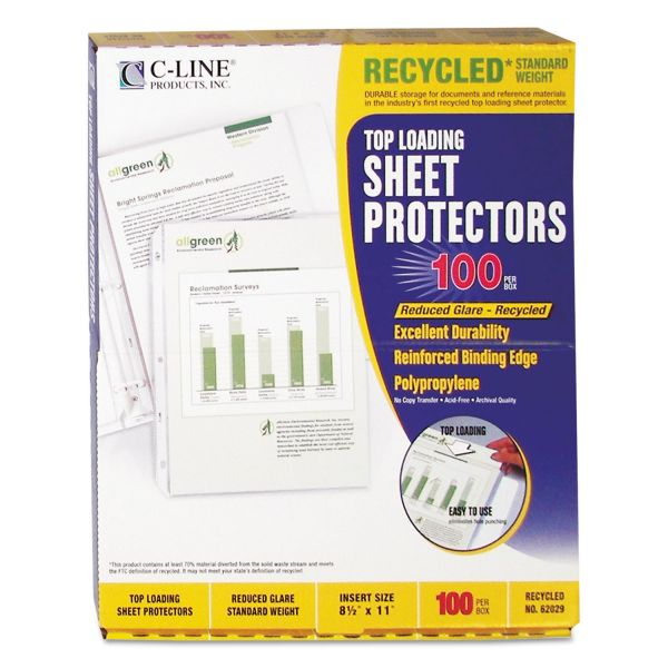 C-Line Top Loading Recycled Polypropylene Sheet Protector, Letter, Standard Weight, Reduced Glare, Clear, 100/Box