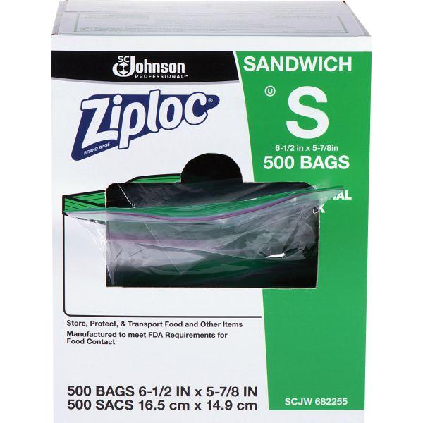 Ziploc Resealable Sandwich Bags, 1.2mil, 6 1/2 x 6, Clear, 500/Box