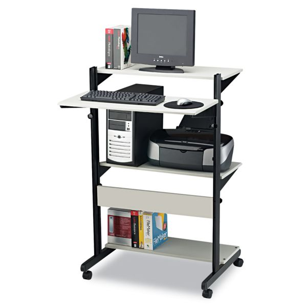 Tiffany Industries Soho Adjustable Mobile Computer Table, 32w x 31d x 50h, Gray Laminate Top